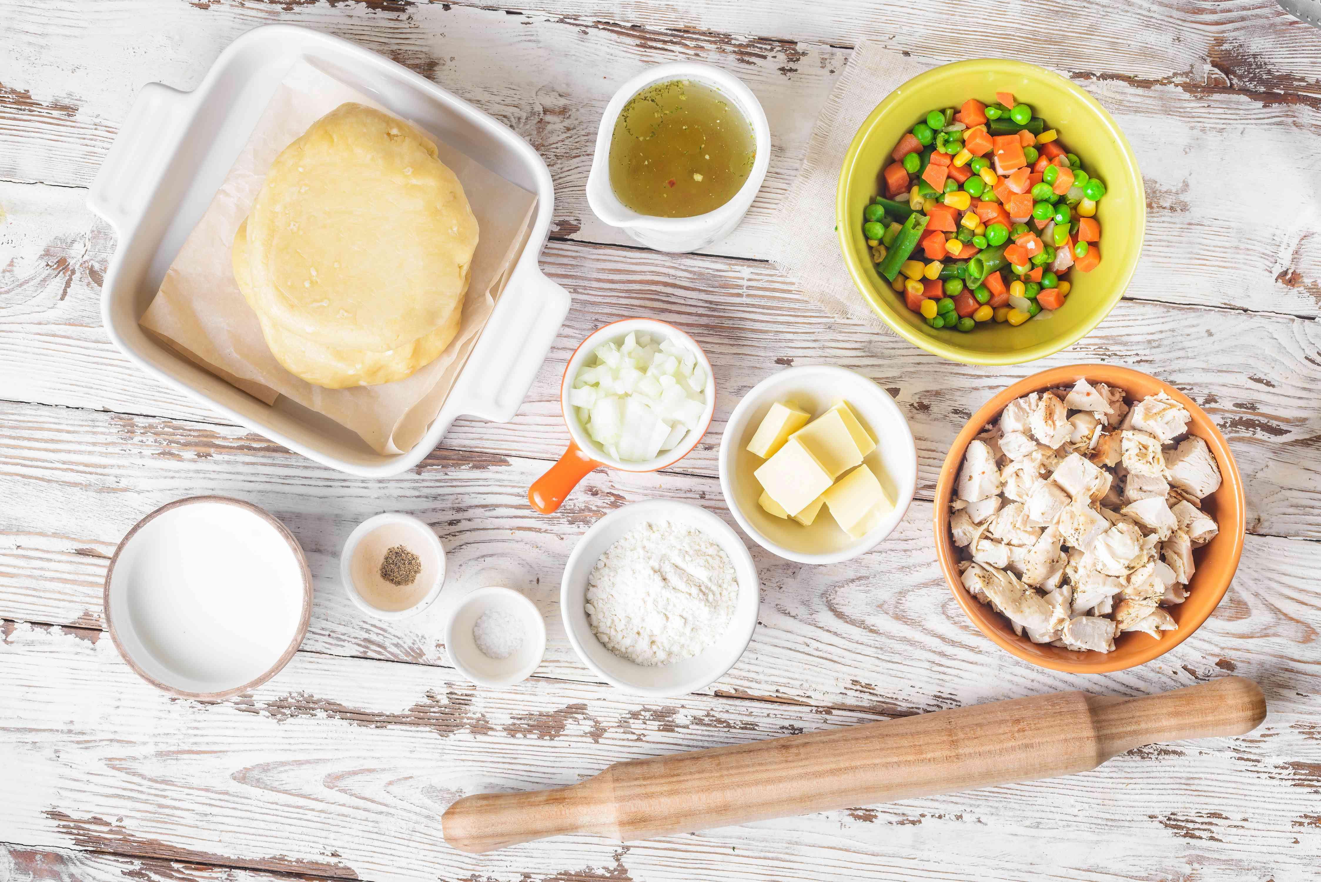 Ingredients for turkey pot pie