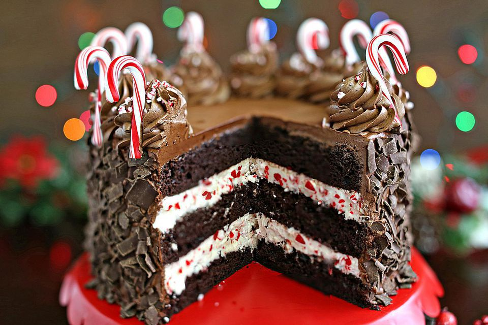 Chocolate Peppermint Candy Cane Cake