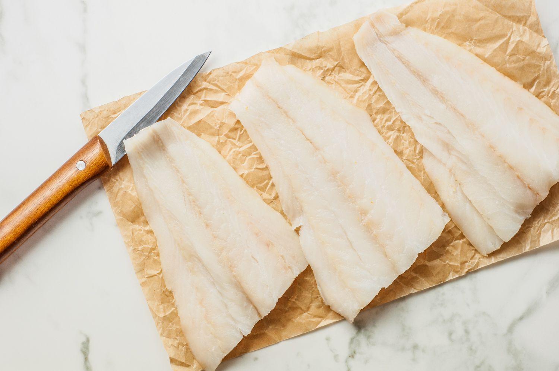 Fish cut into three equal portions