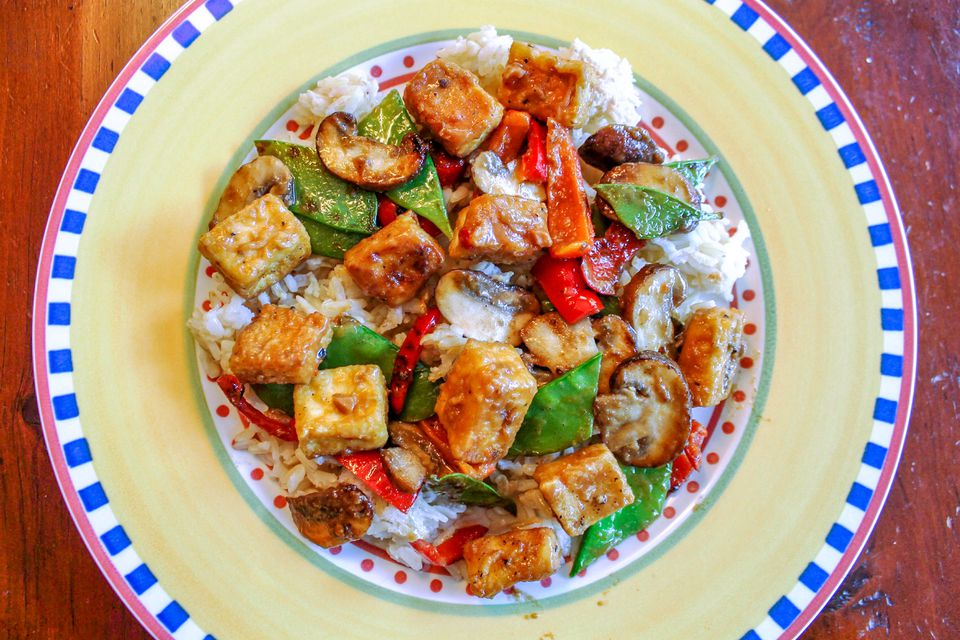 Vegan Tofu Stir-Fry With Vegetables in Peanut Sauce