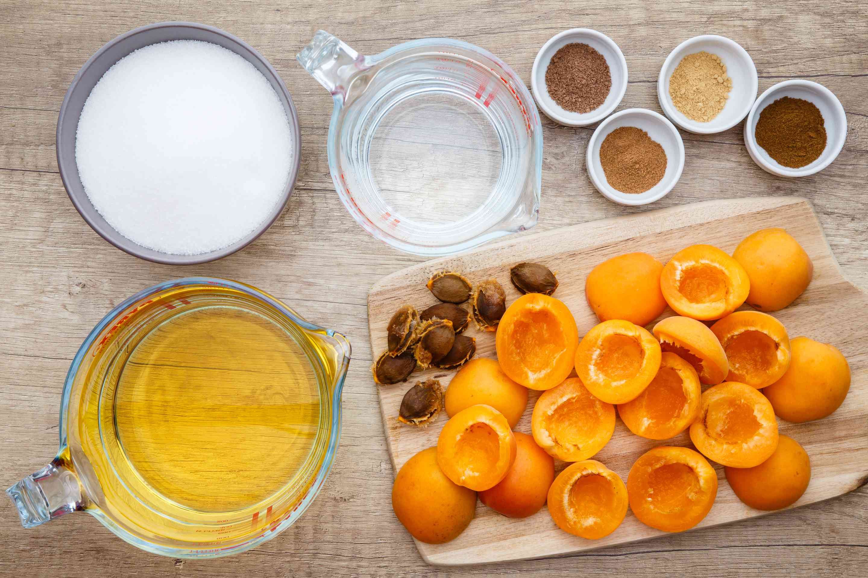 Ingredients for apricot liqueur