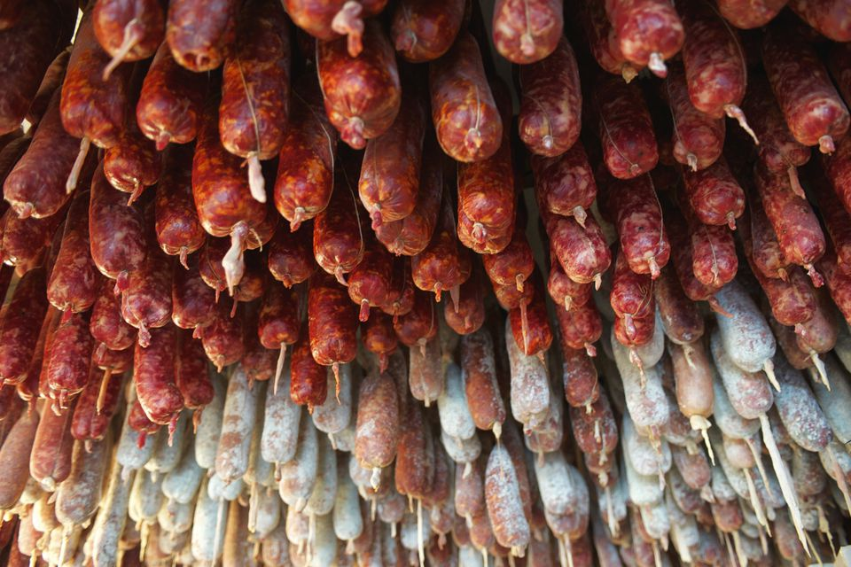 Soppressata and coppa hanging
