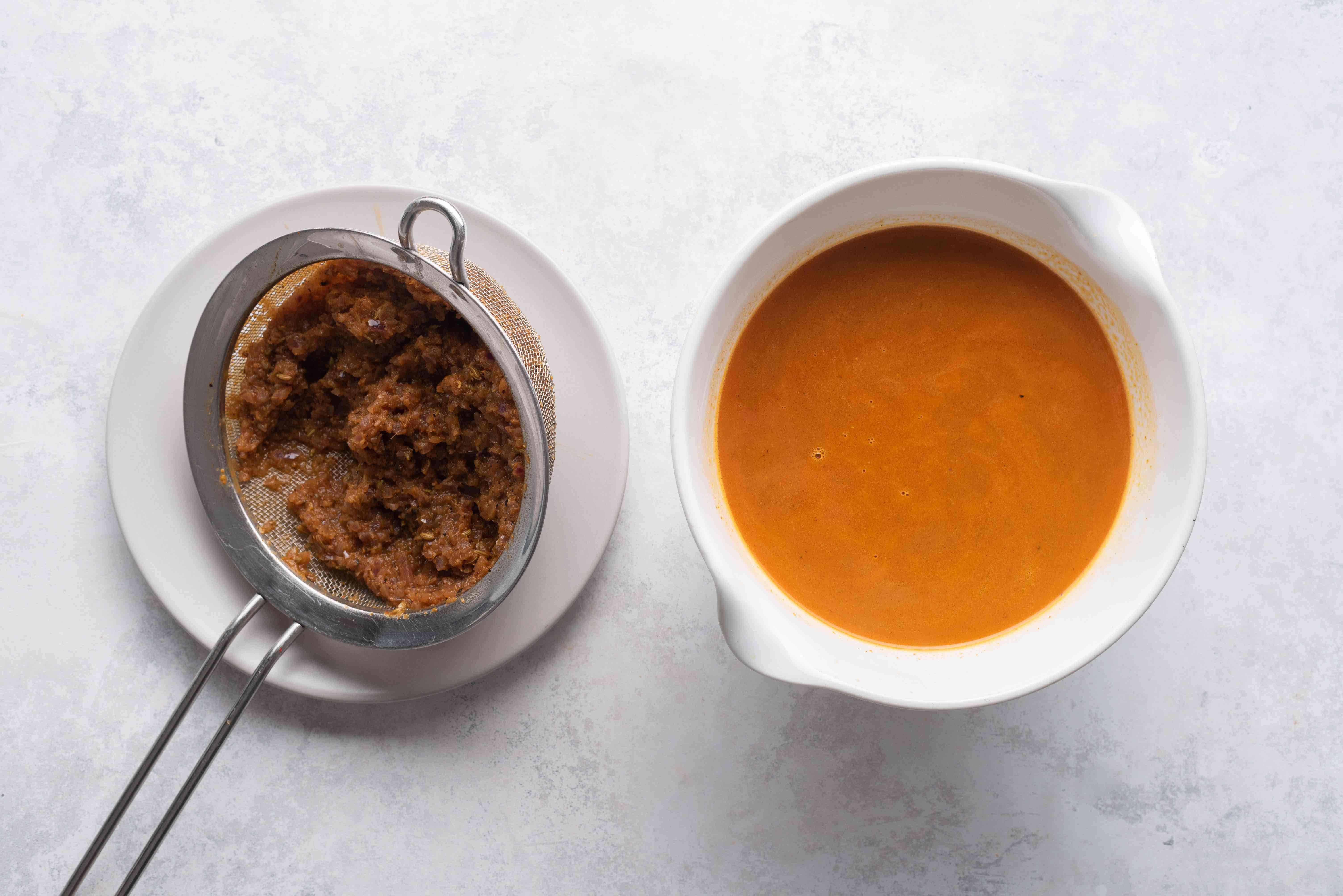 Pass the sauce through a fine sieve into a bowl