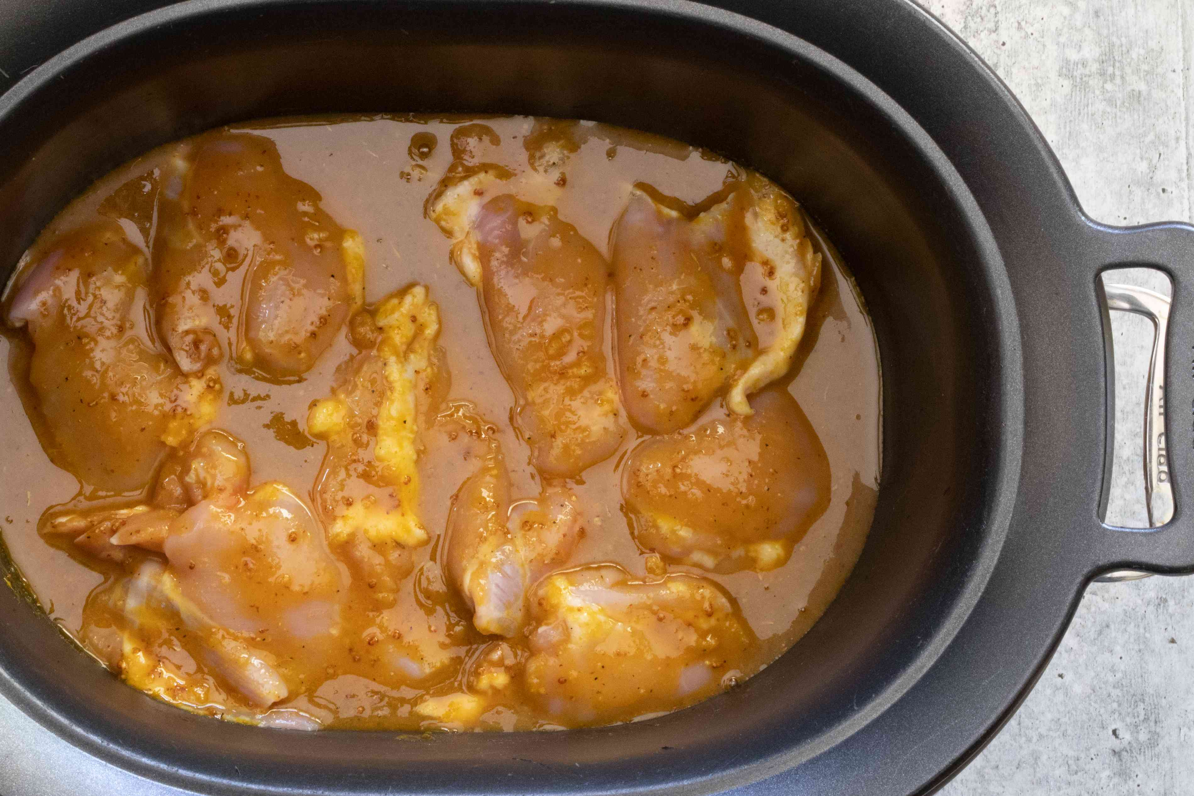 honey mustard chicken ready to be slow cooked