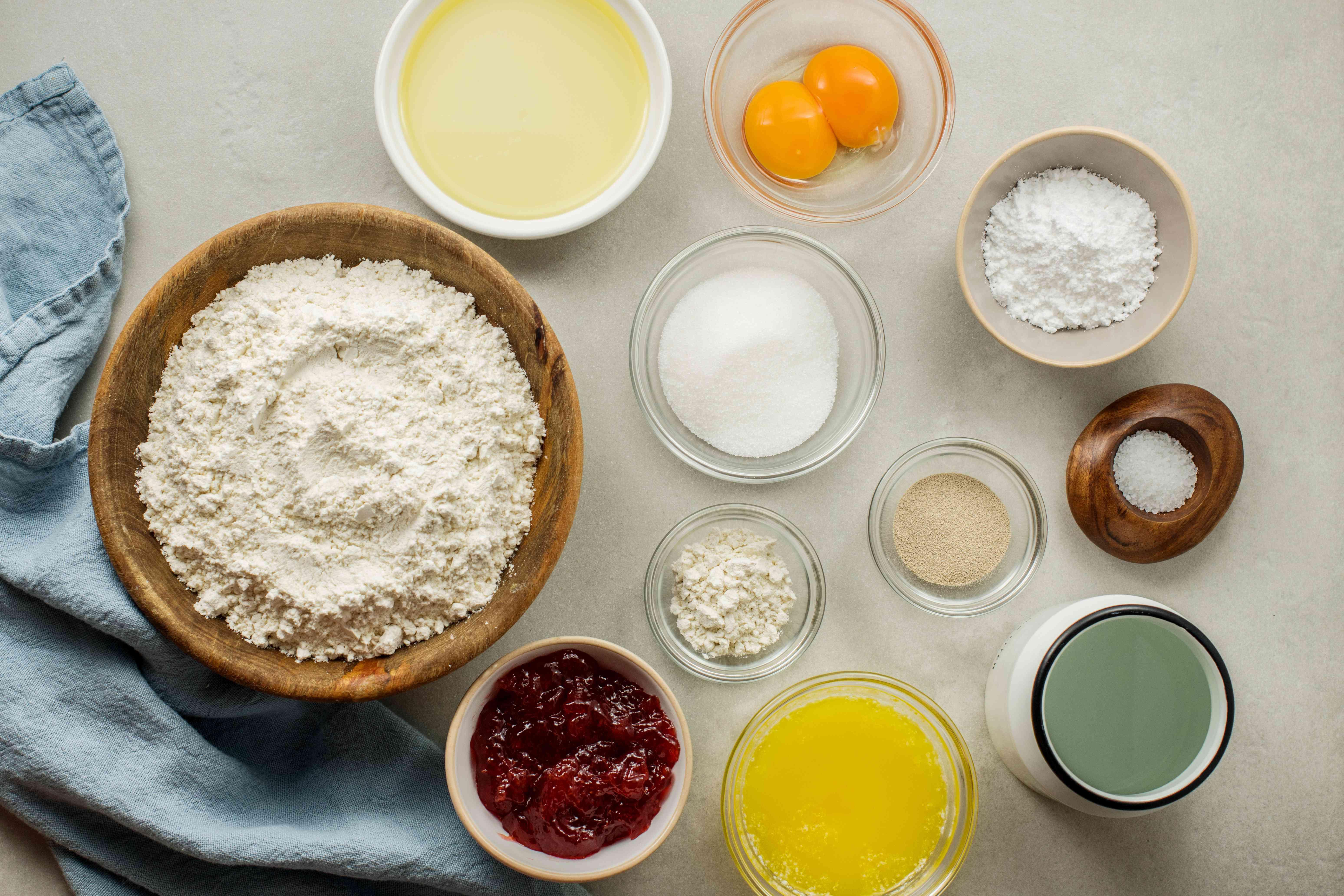 Gather ingredients for Hanukkah doughnuts
