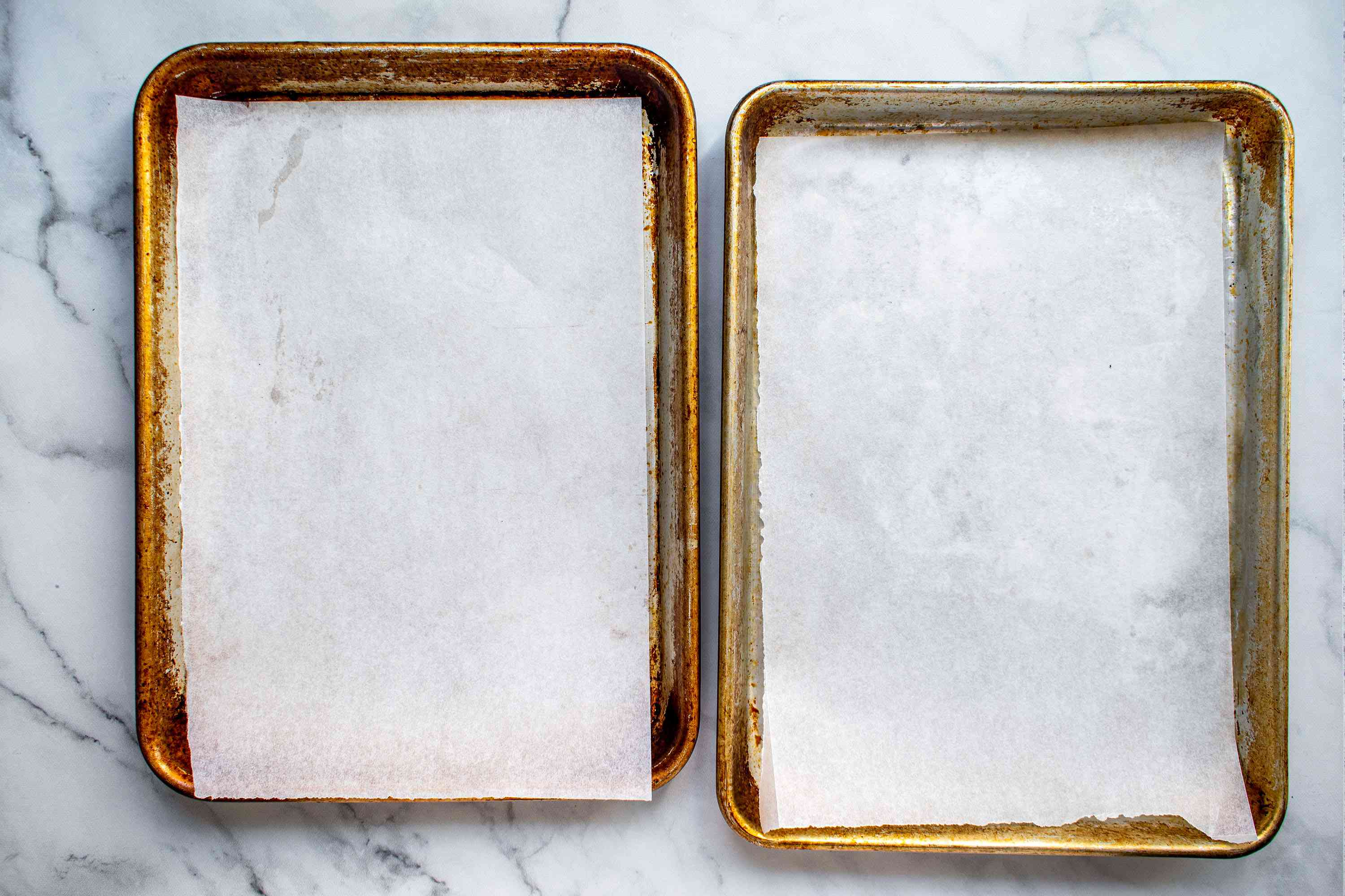 Baking sheets lined with parchment paper