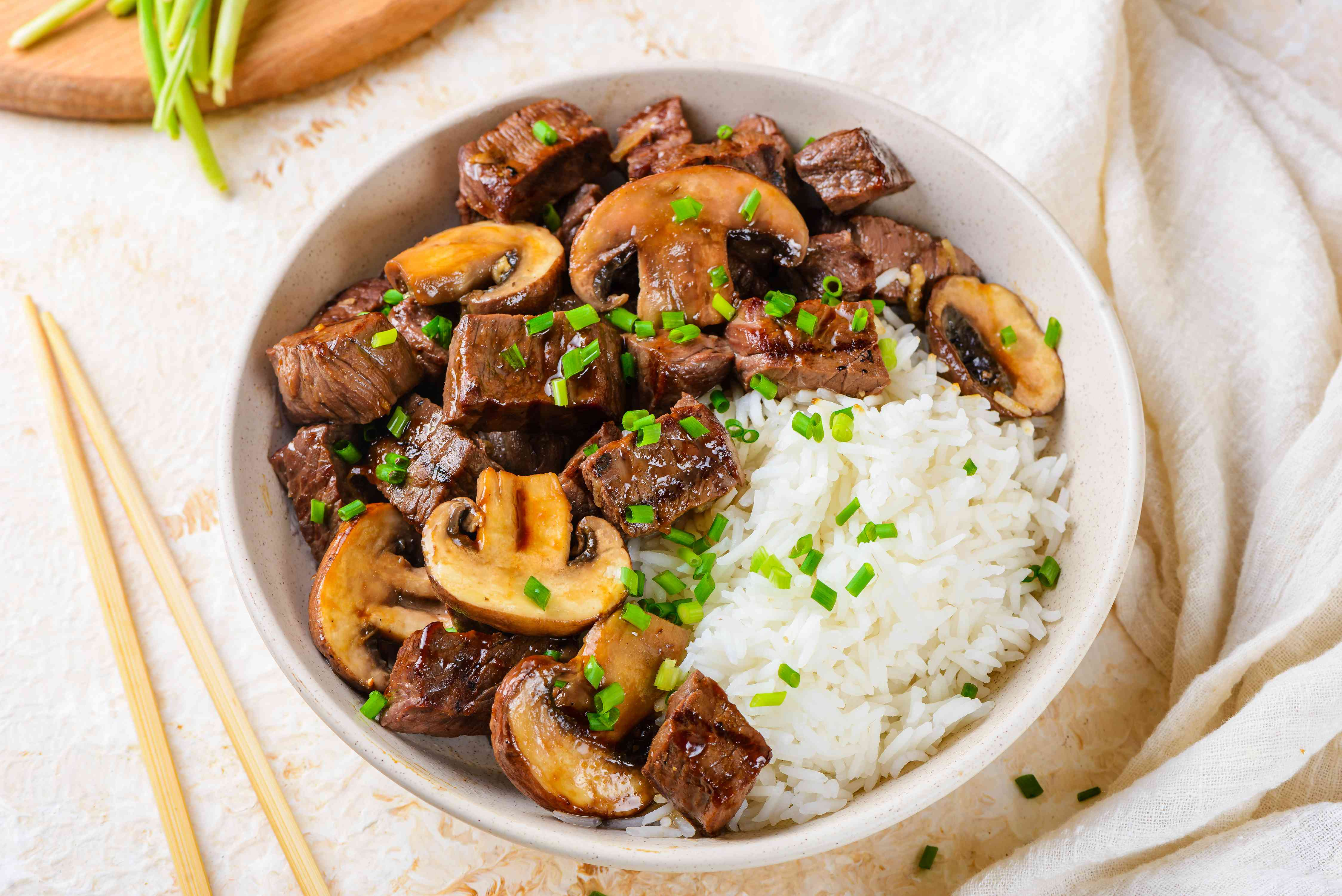 Hibachi-style steak in a bowl with rice