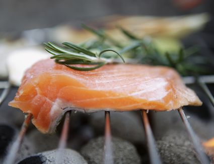 Salmon on charcoal grill
