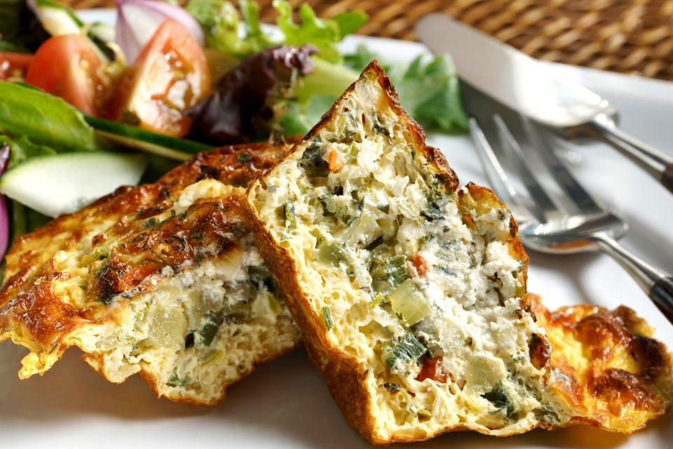 Vegetable quiche with healthy garden salad