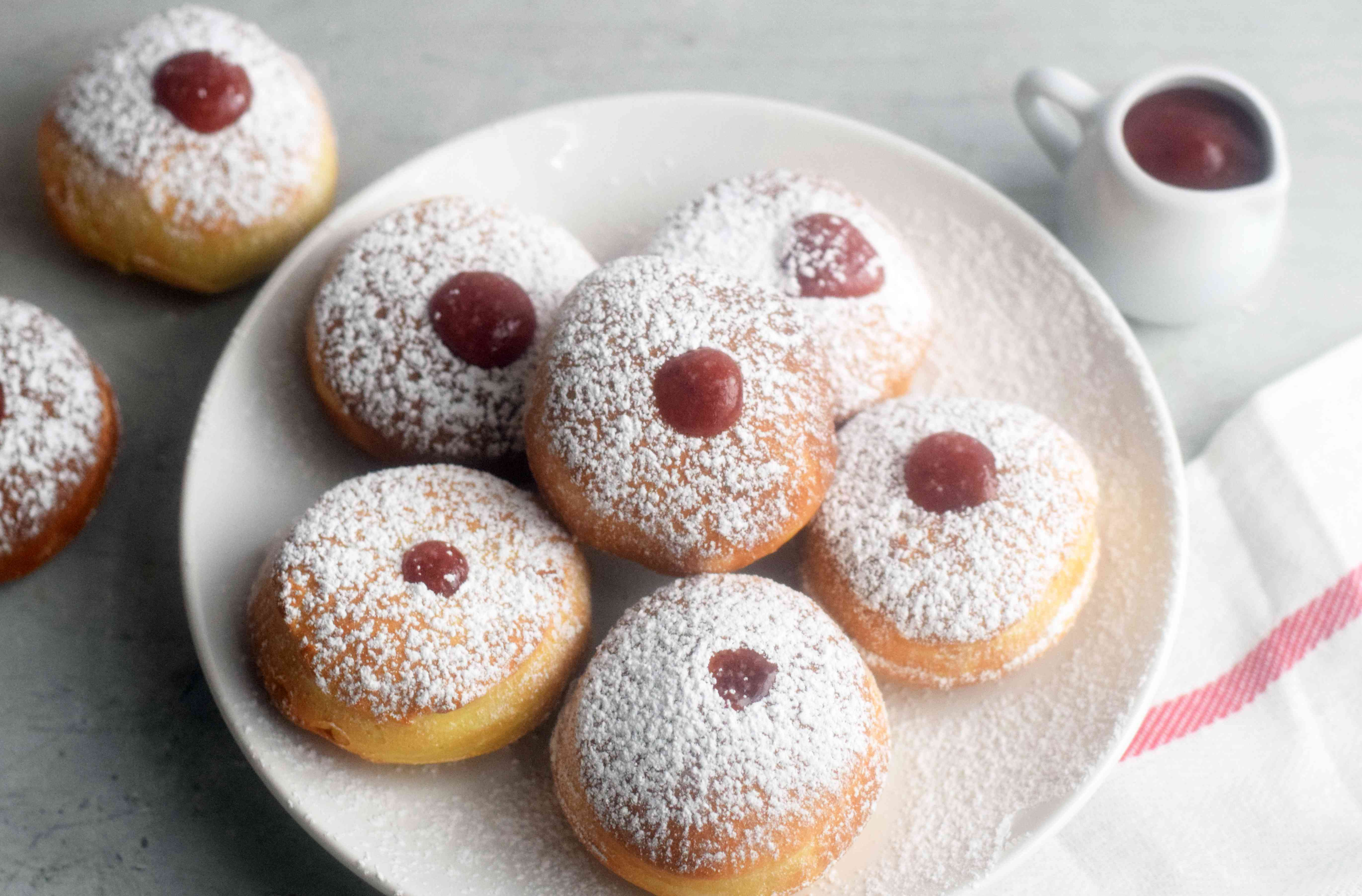 A plate of air-fried sufganiyot jelly doughnuts