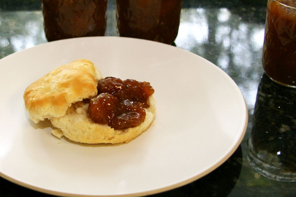 fig preserves on a biscuit