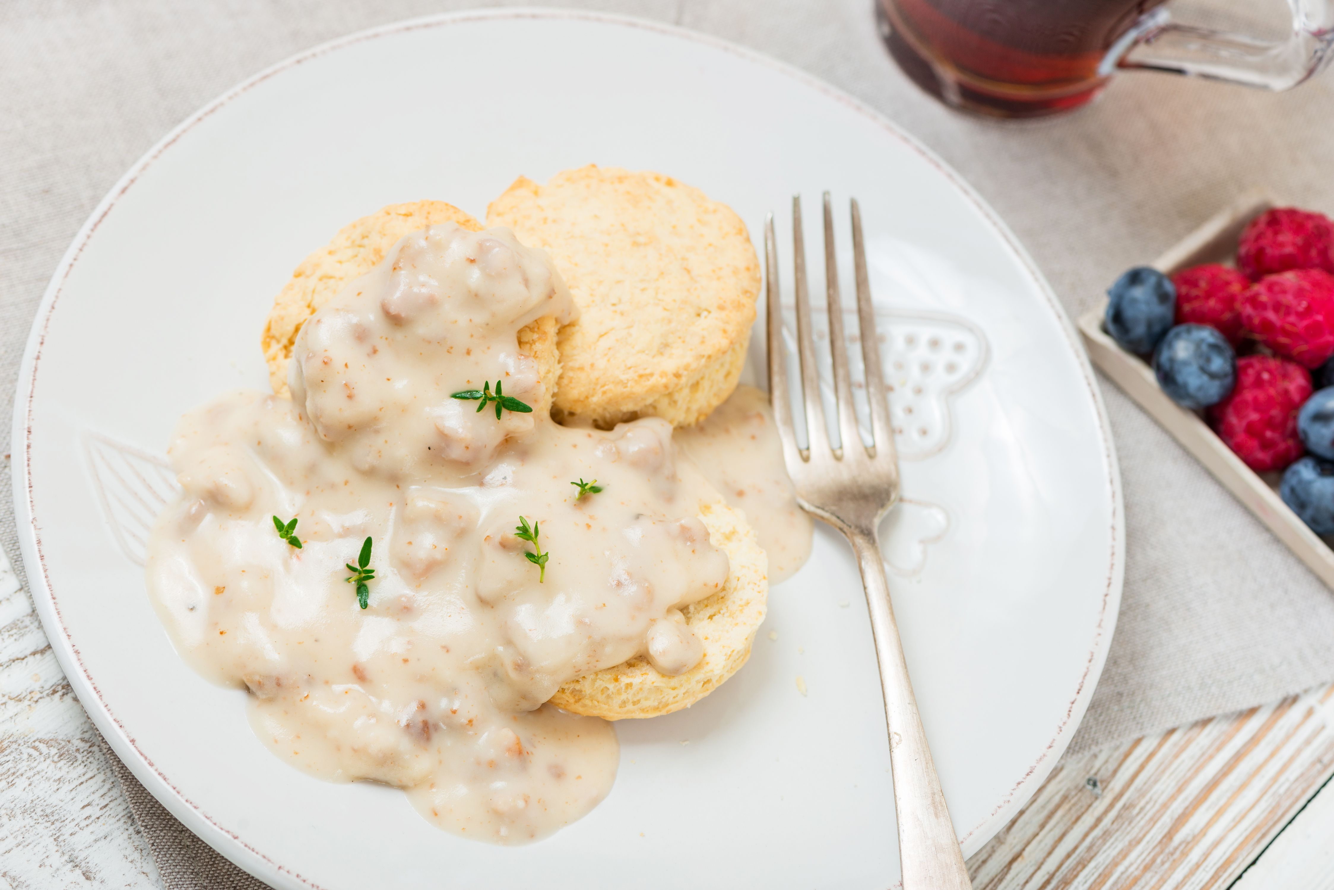 Serve sausage gravy over biscuits
