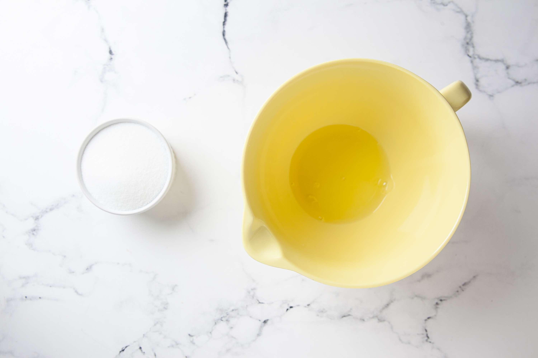 Beat egg whites and sugar until stiff