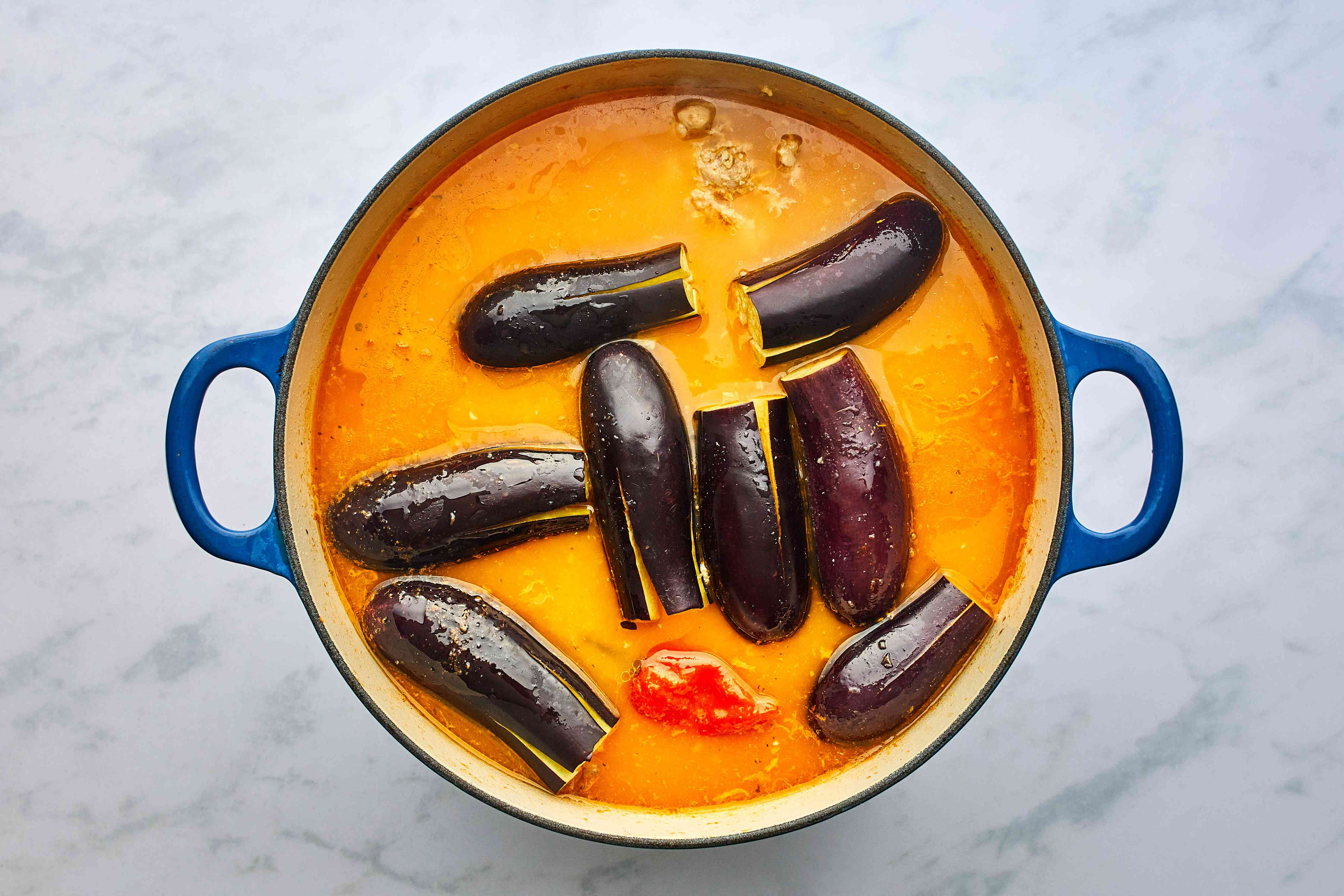 eggplant added to the soup