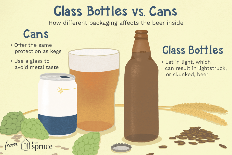 illustration looking at the difference between beer bottles and cans