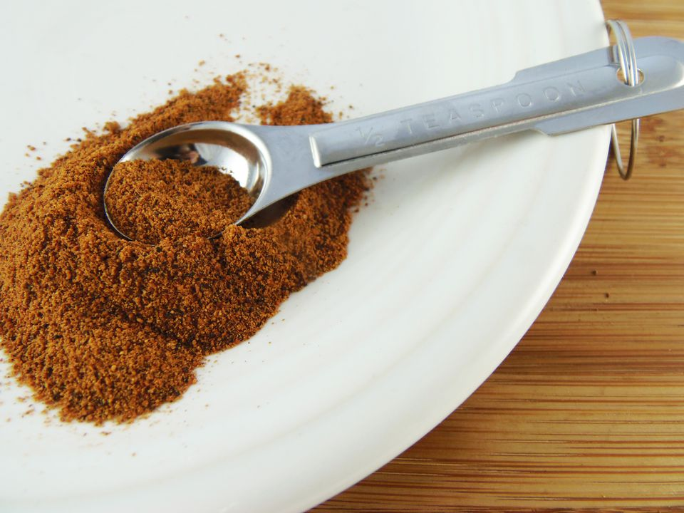 A powdered brown spice on a plate with a measuring spoon