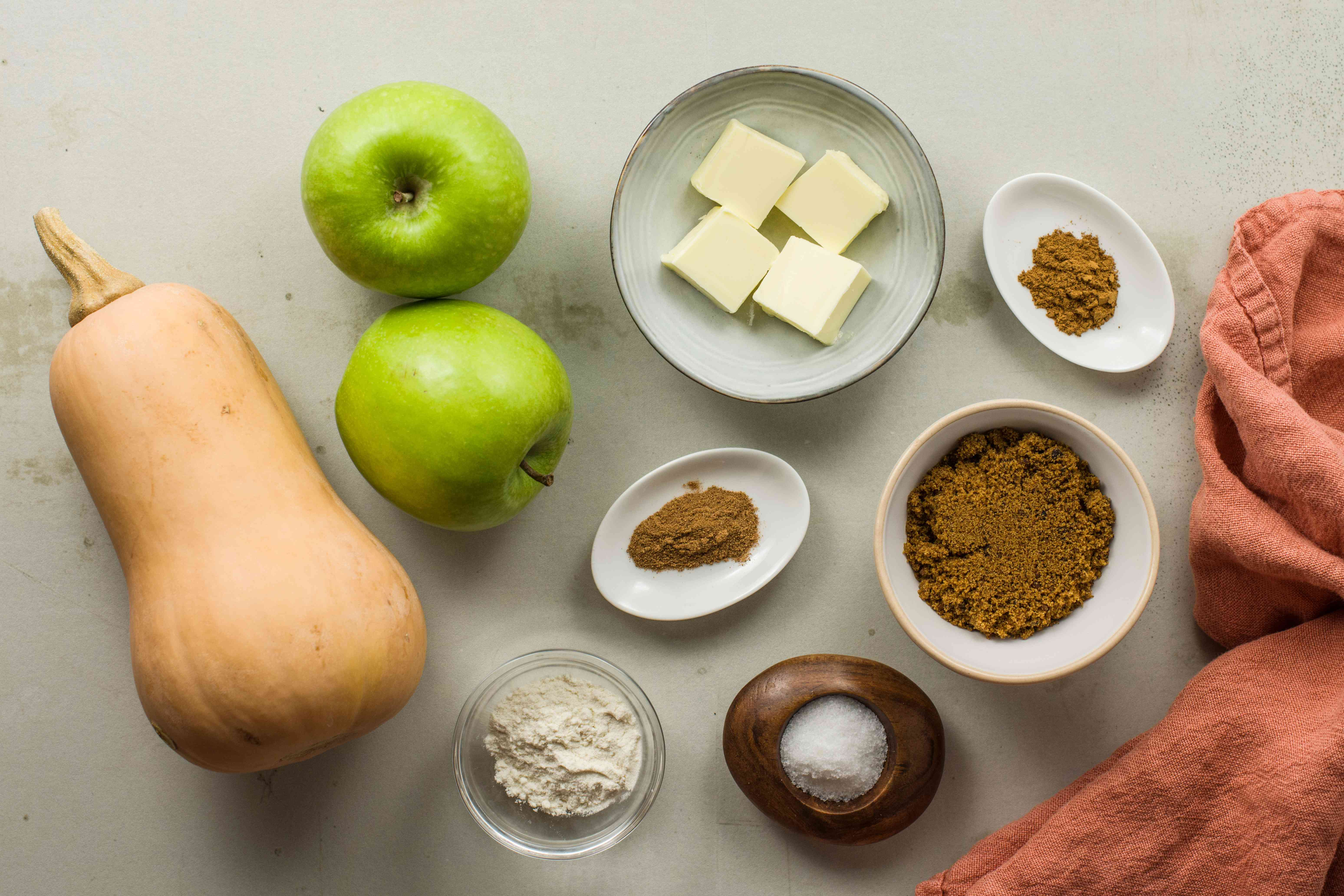 Ingredients for butternut squash and apple casserole recipe