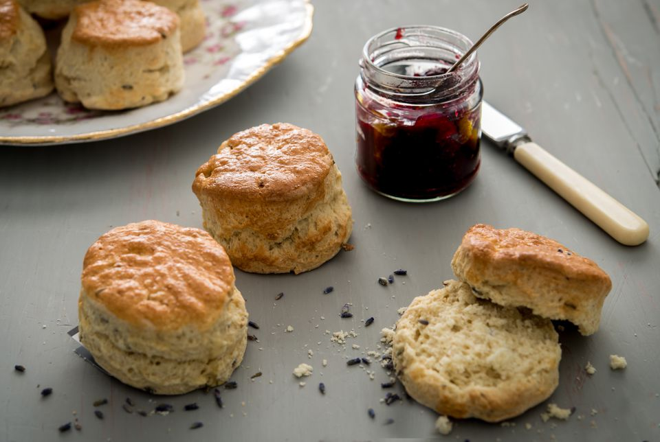 Lavender-scones with jam on a table