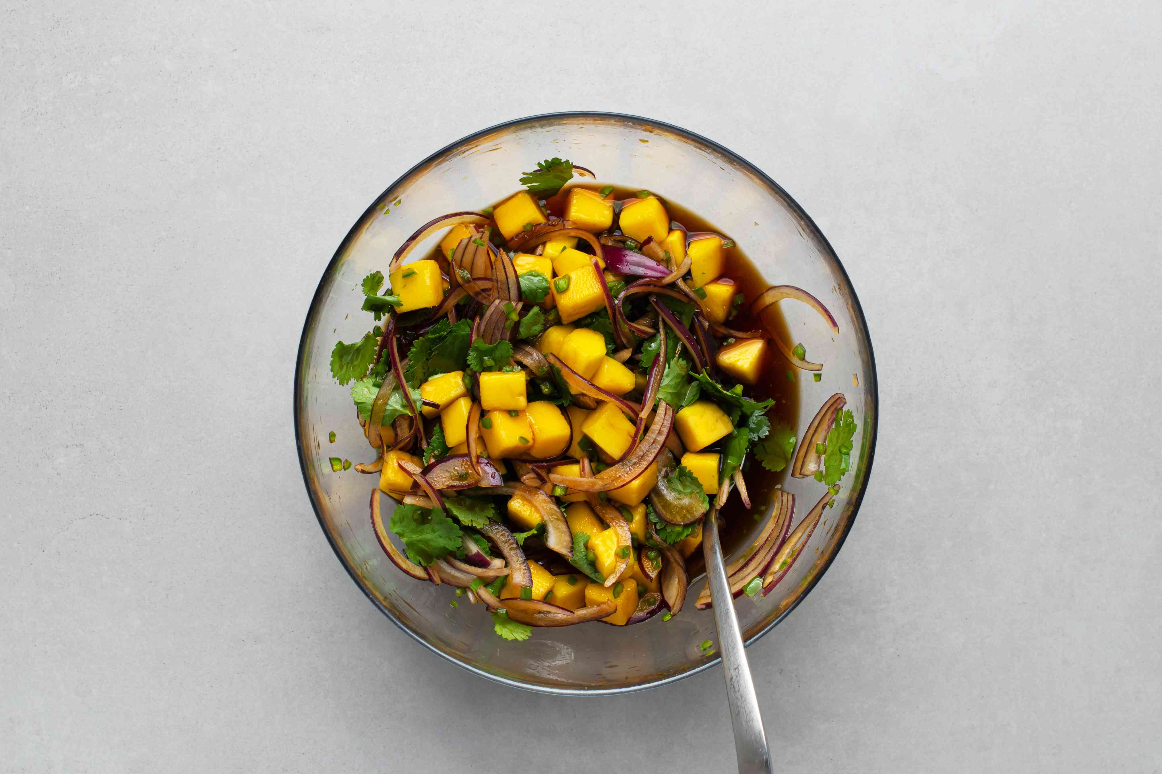 mix together the soy sauce, mirin, onion, mango, jalapeños, and cilantro in a small bowl