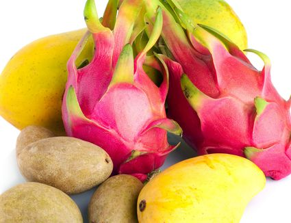 Pitaya, kiwi, and mango are some exotic tropical fruit
