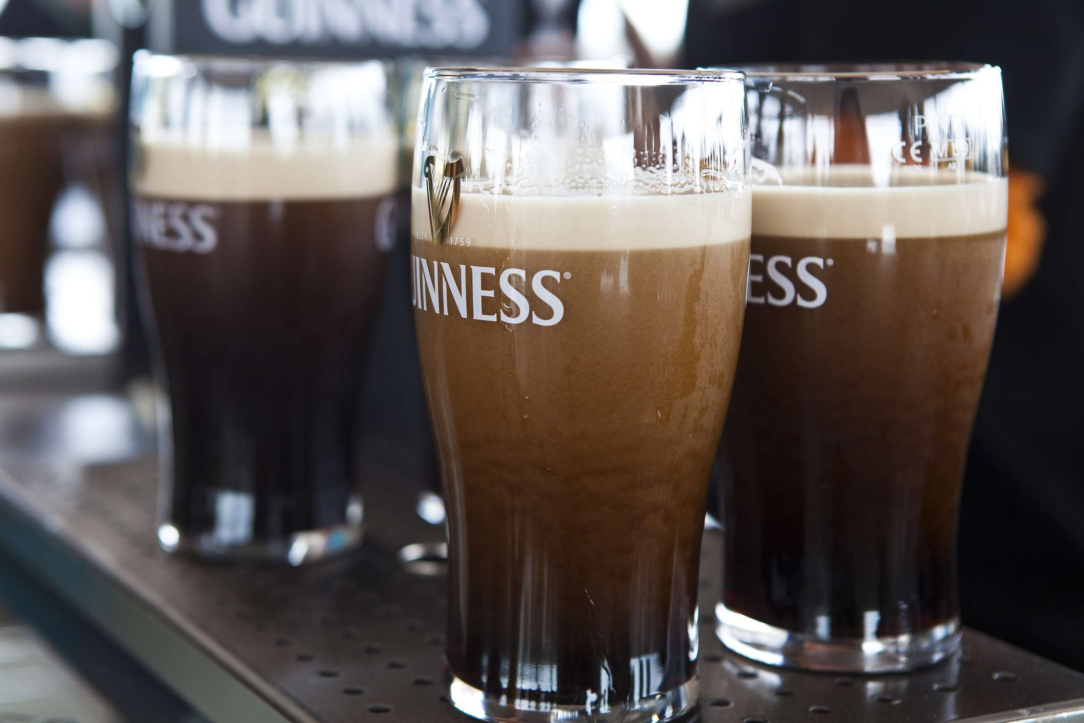 Pints of Guiness beer