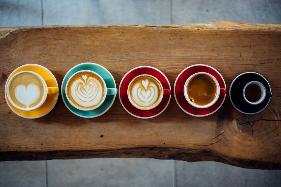 overhead shot of different coffee drinks
