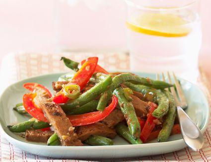 Seitan stir-fry on a plate