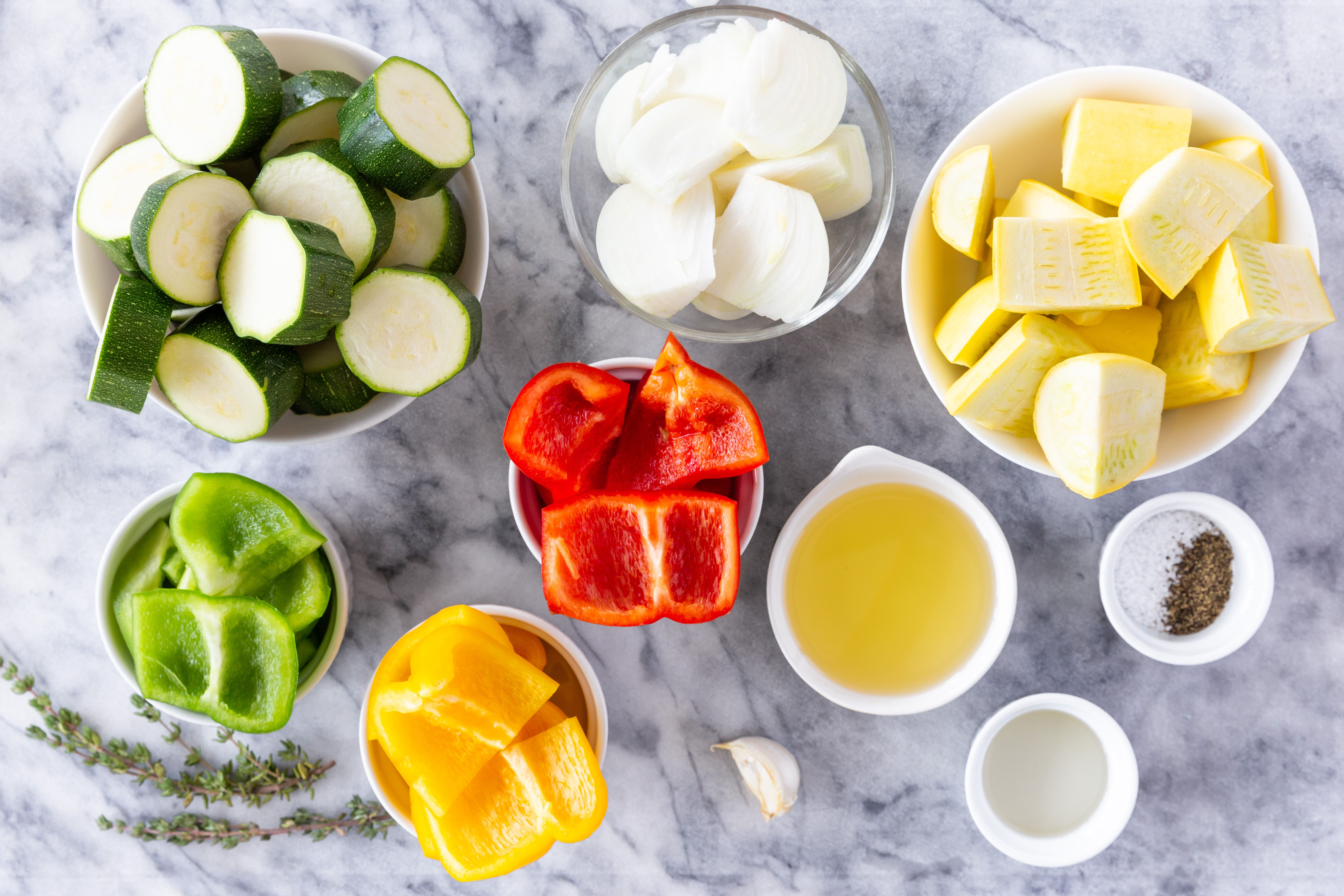 Ingredients for roasted peppers and seasonal vegetables