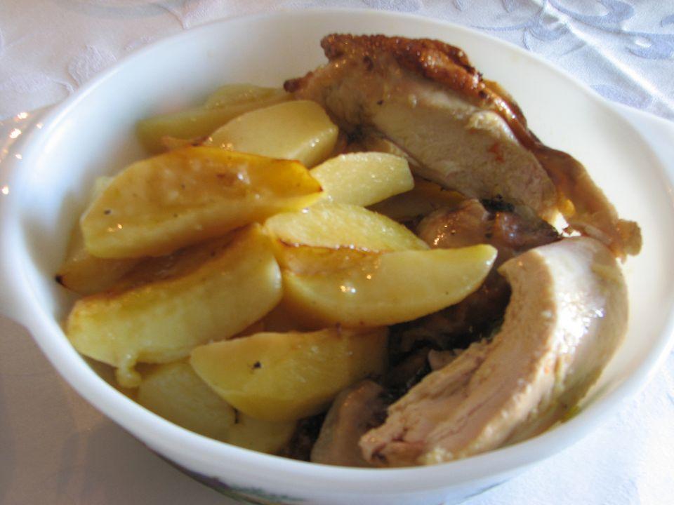 Receta griega de pollo asado con papas