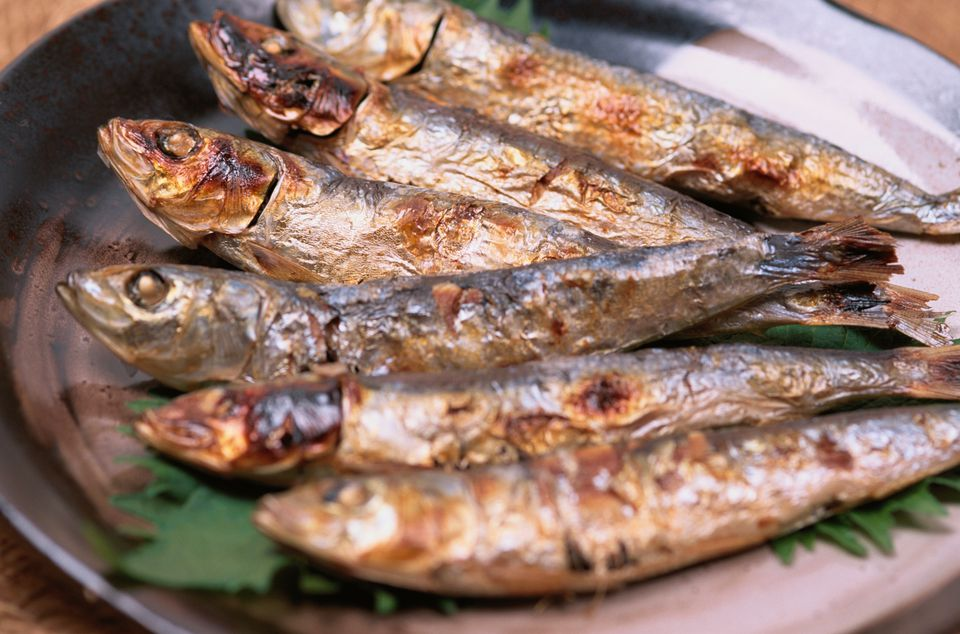 Baked sardines on a plate