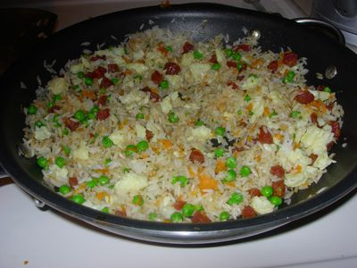 All about chinese fried rice chinese sausage fried rice with carrots and peas ccuart Images