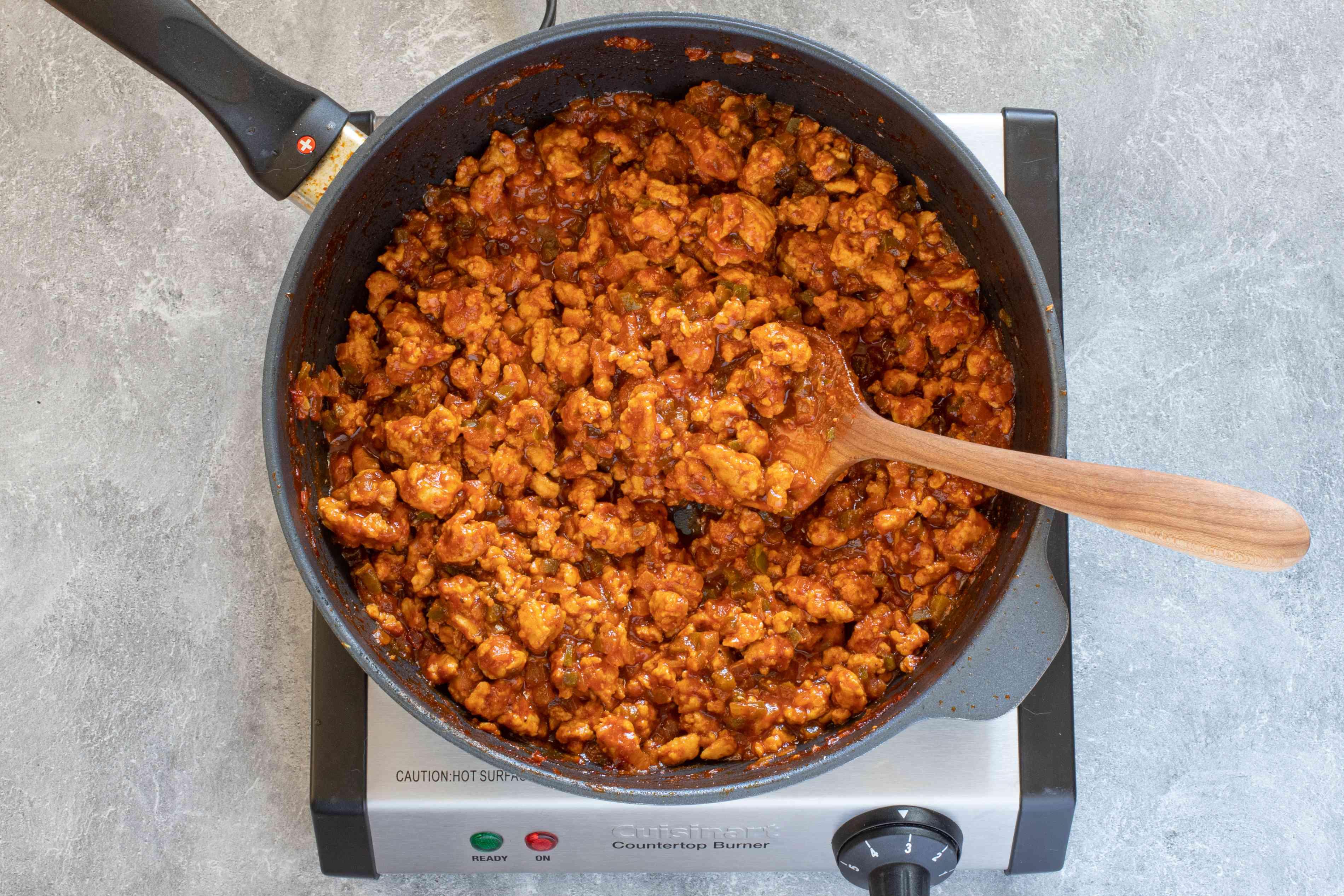pan with simmered turkey sloppy joe mixture