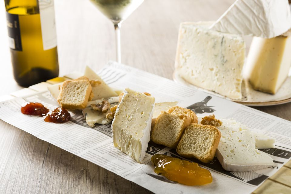 Chardonnay and cheese plate.