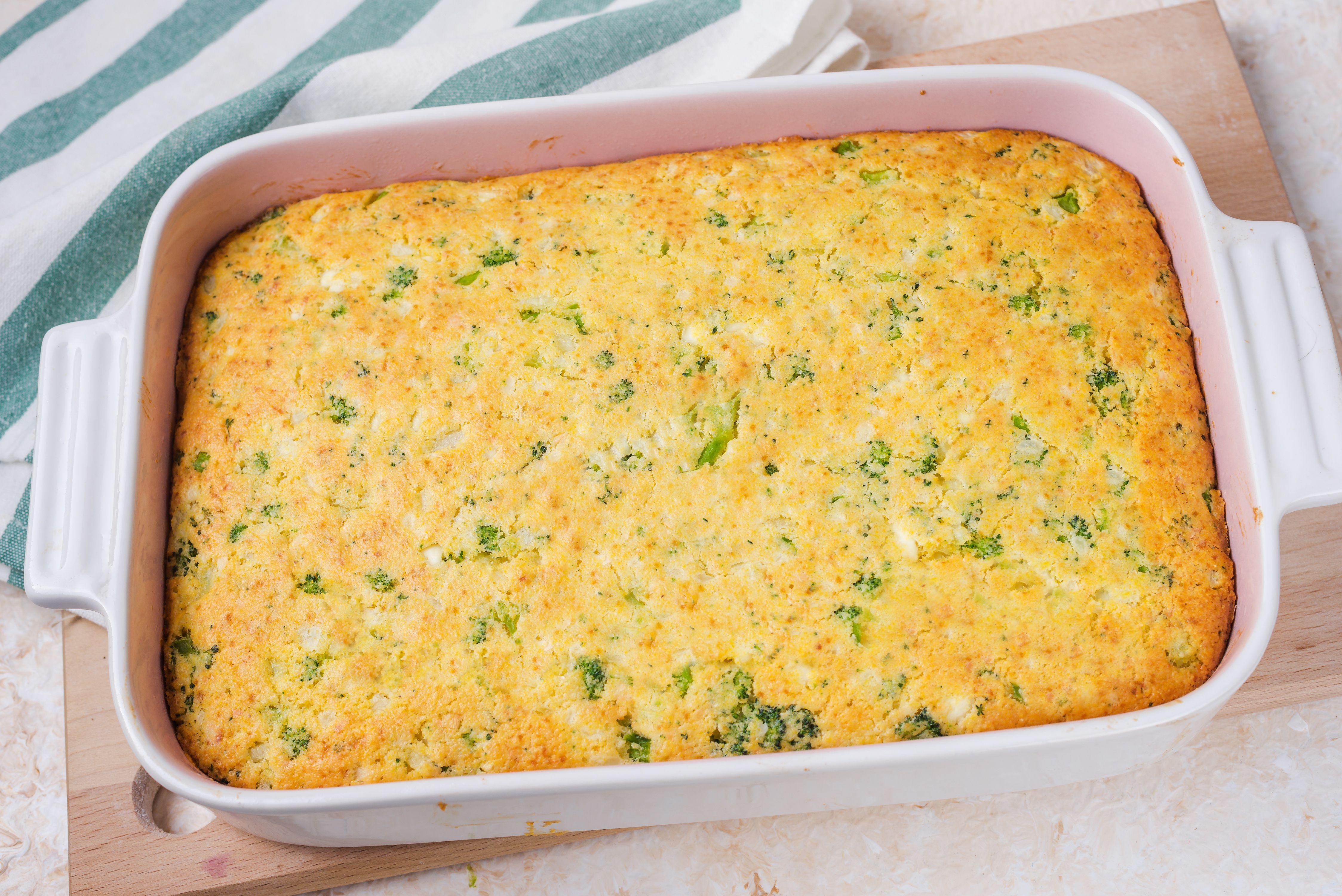 Casserole baked in oven.