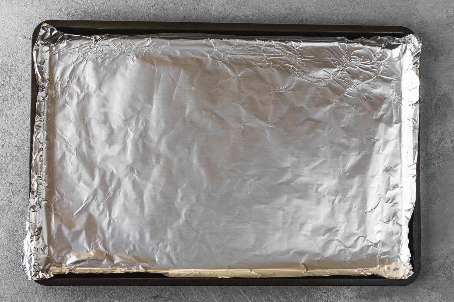 baking pan lined with aluminum foil