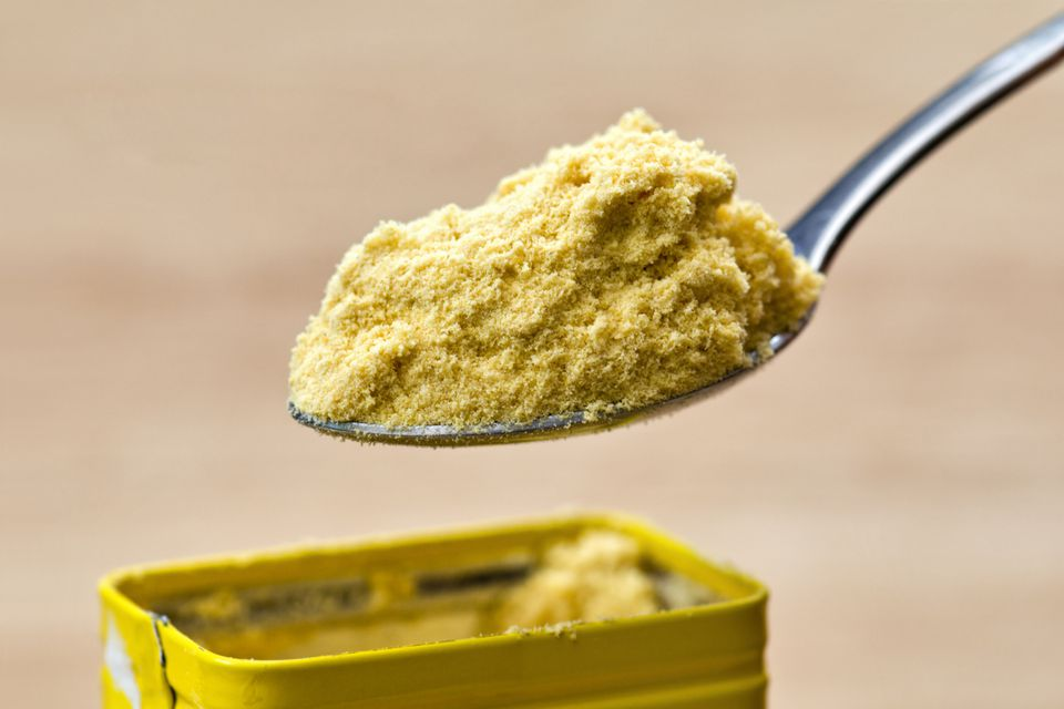 Spoonful of hot mustard powder