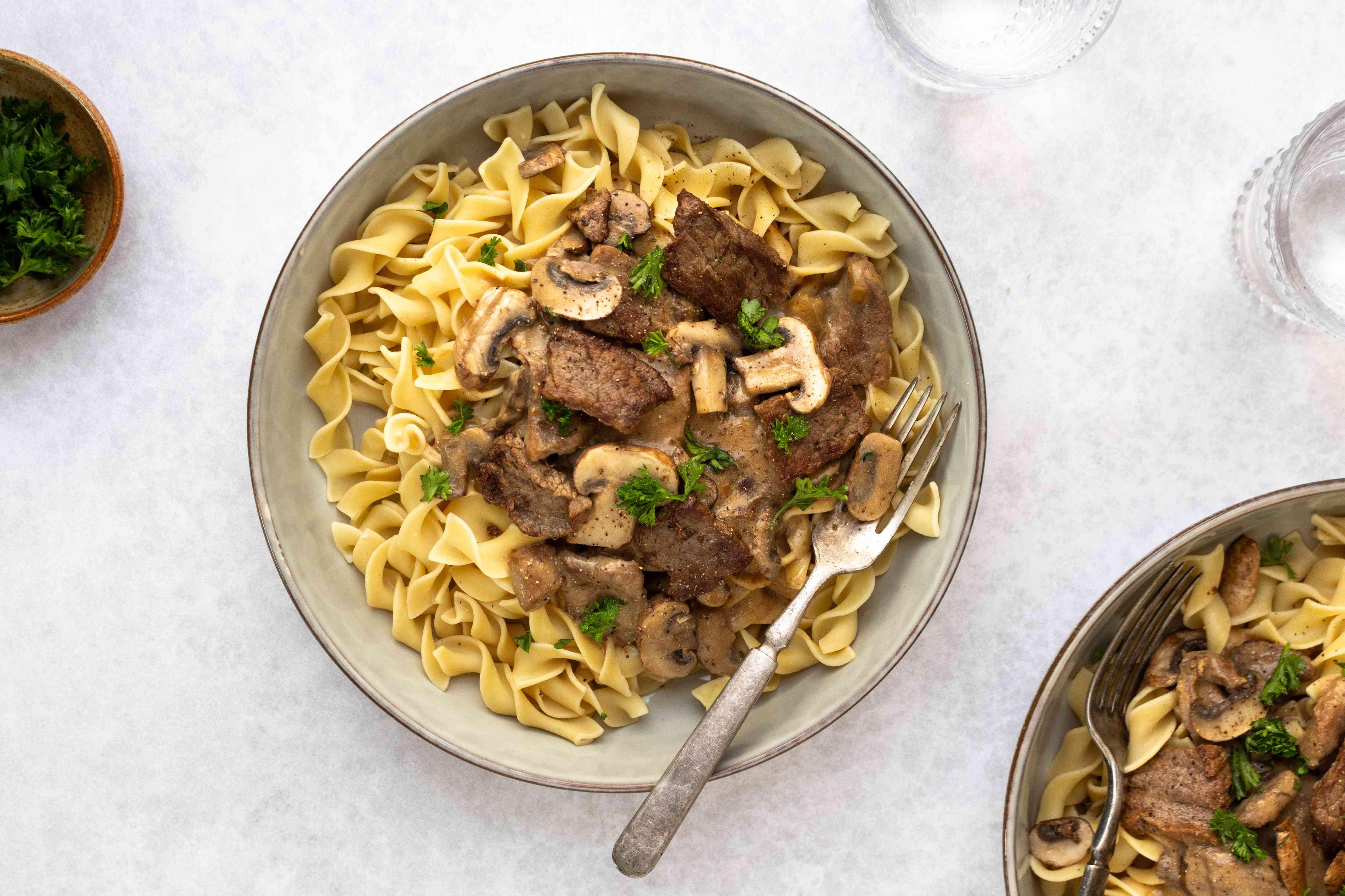 Easy Crock Pot Beef Stroganoff in a bowl