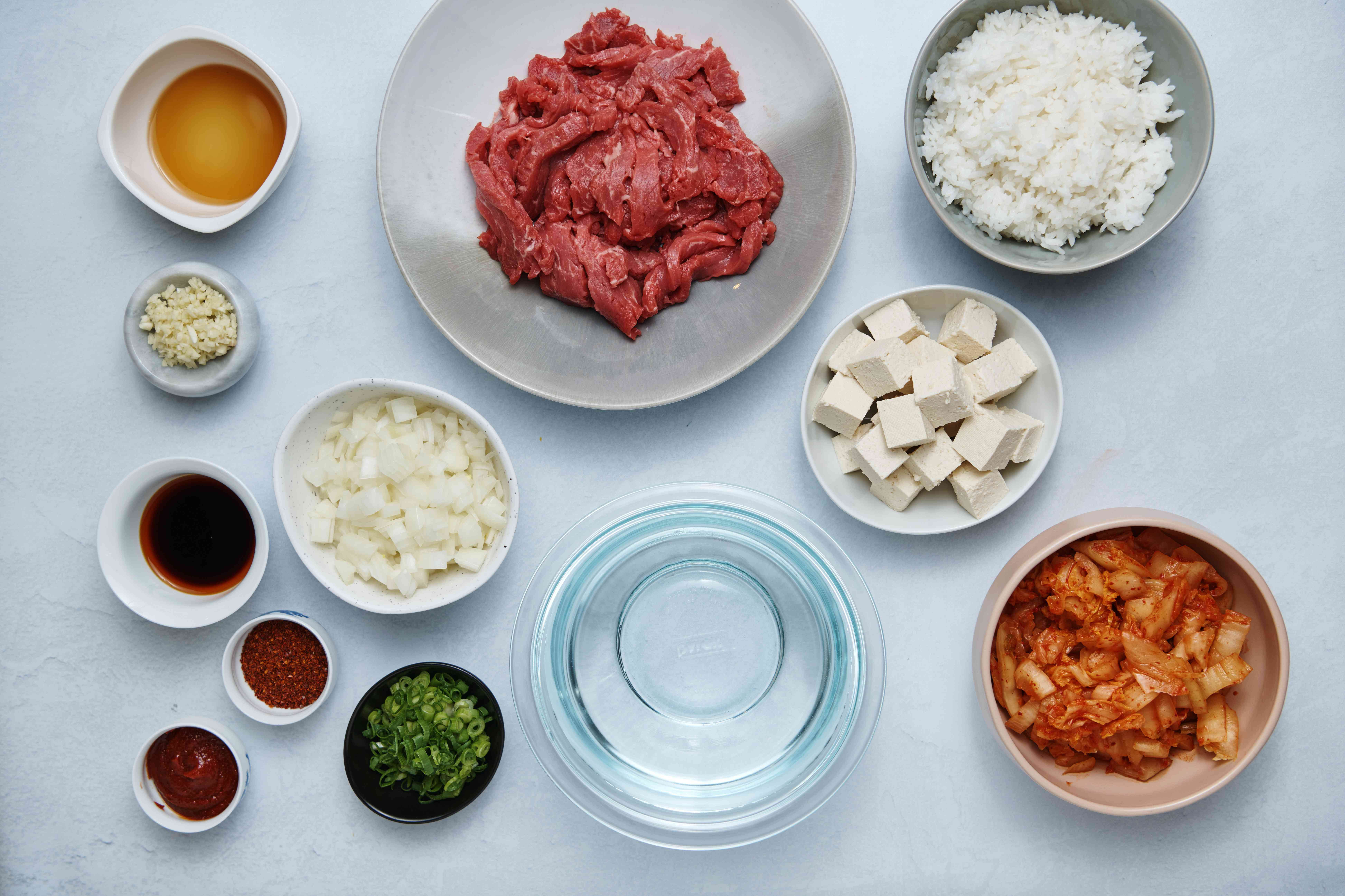 Ingredients for kimchi stew