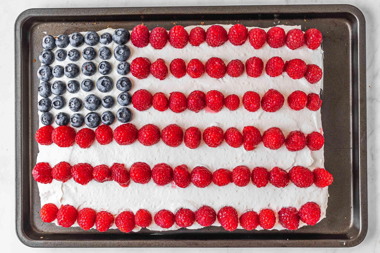 American Flag Cake on a baking sheet