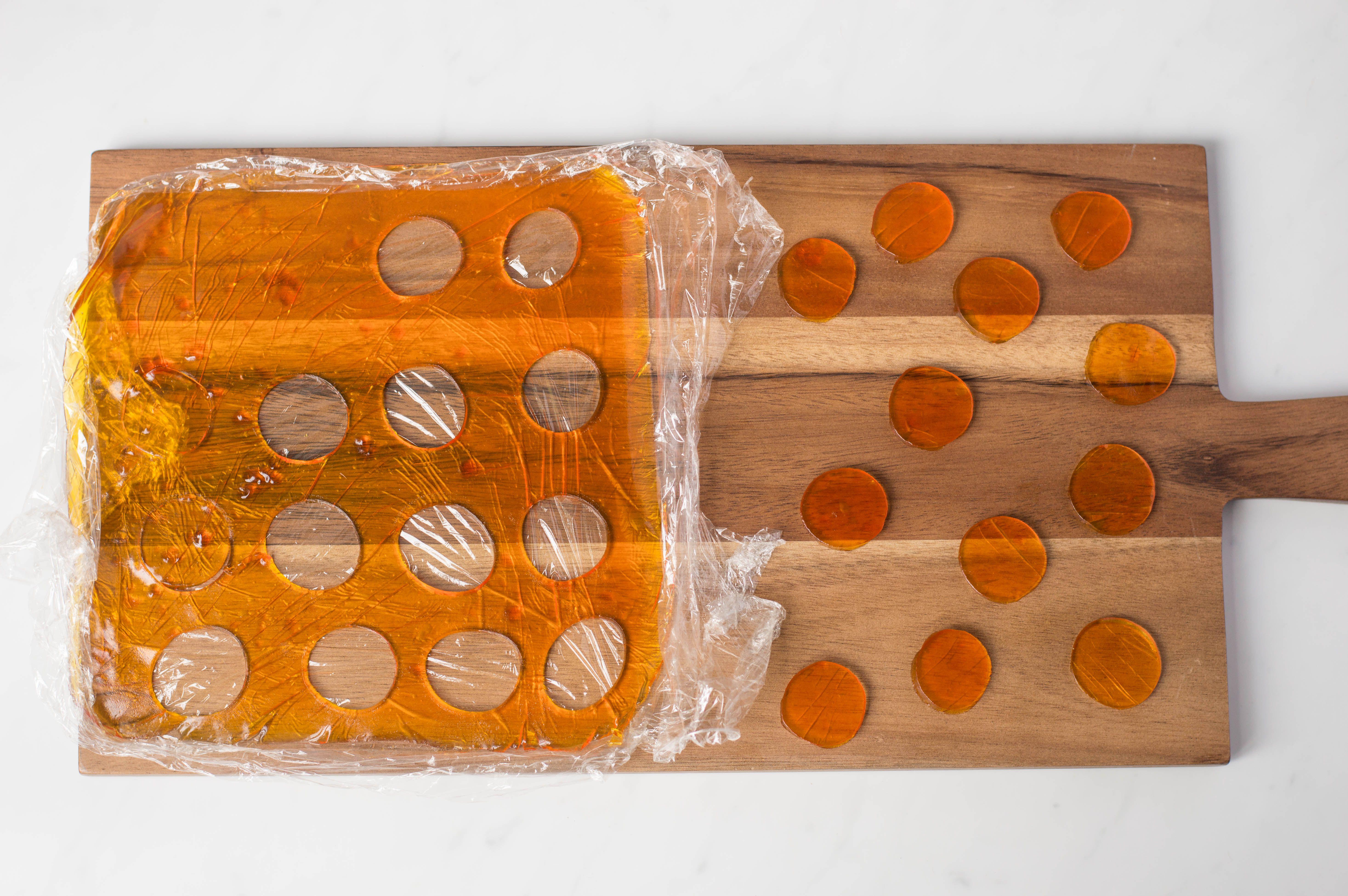 cut discs of orange jelly