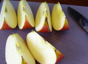 Cut apple into wedges