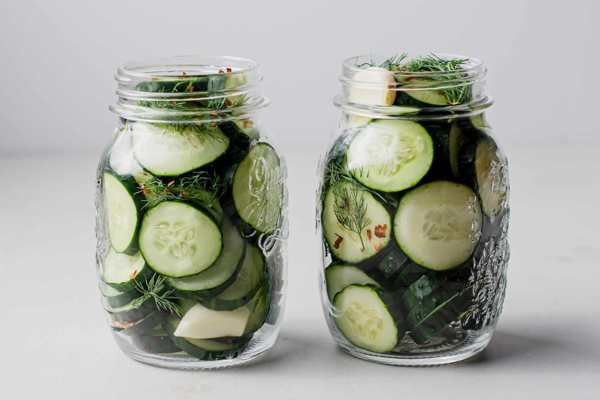 Cucumbers in jar