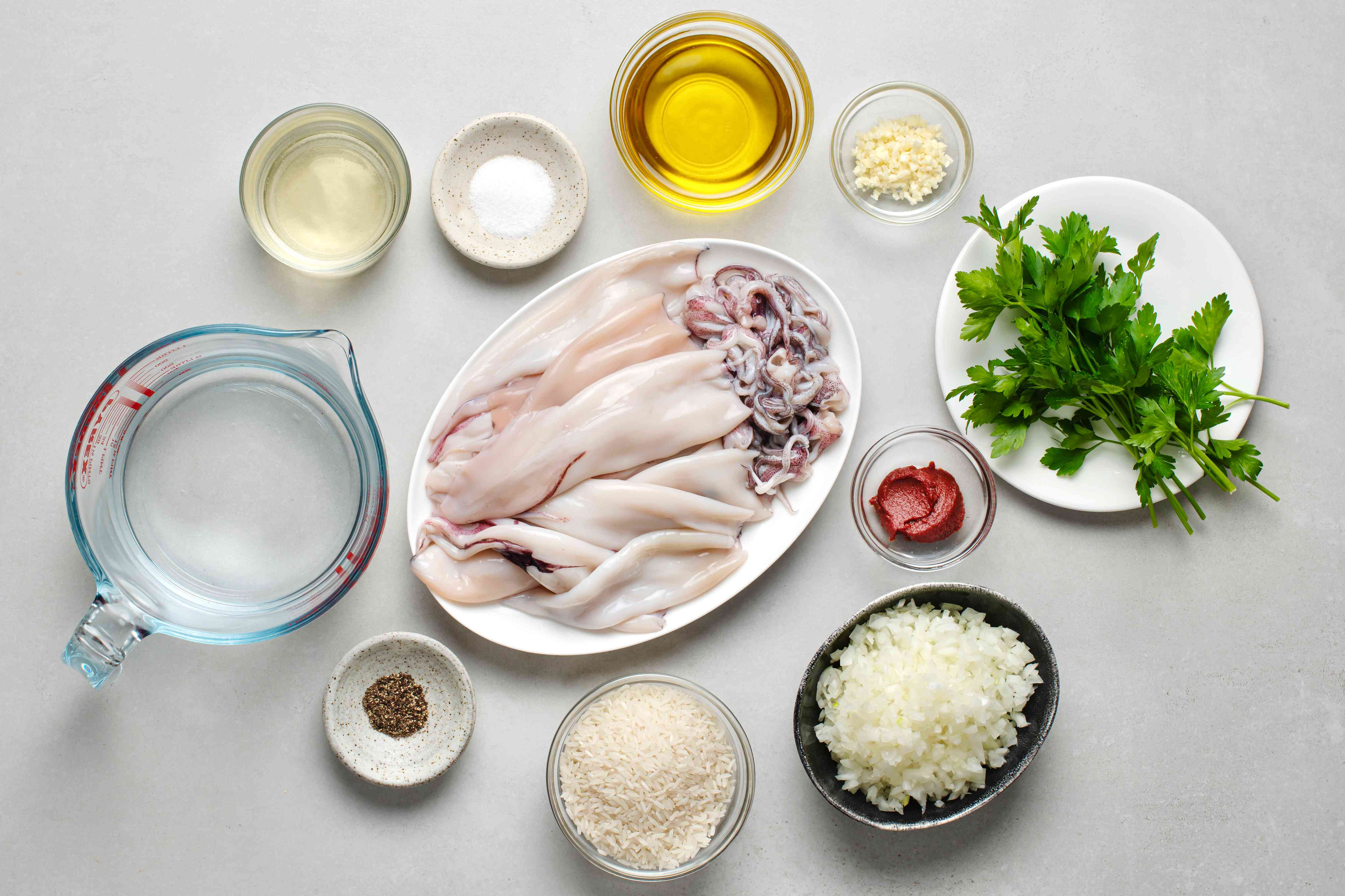 Ingredients to make Greek stuffed squid