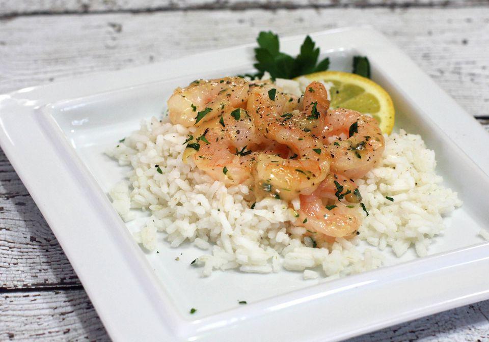 Simple Lemon Garlic Shrimp With Rice