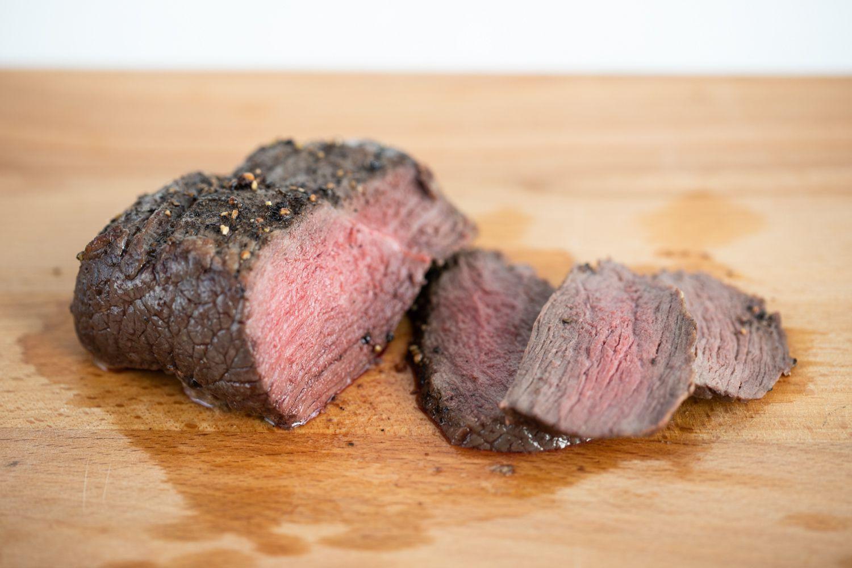 Sliced broiled steak