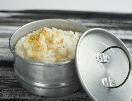 Coconut rice in pot
