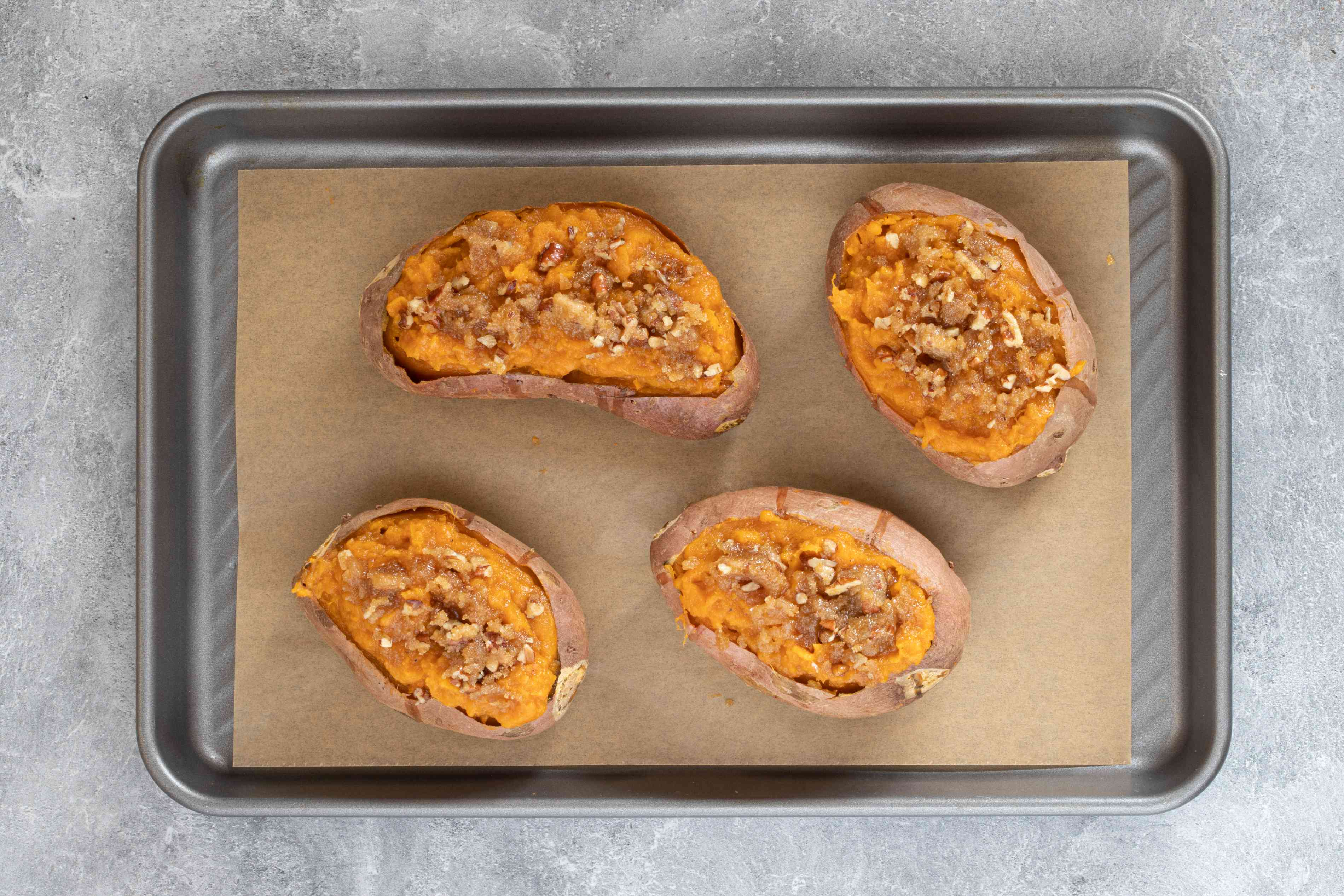 twice-baked sweet potatoes ready for the oven