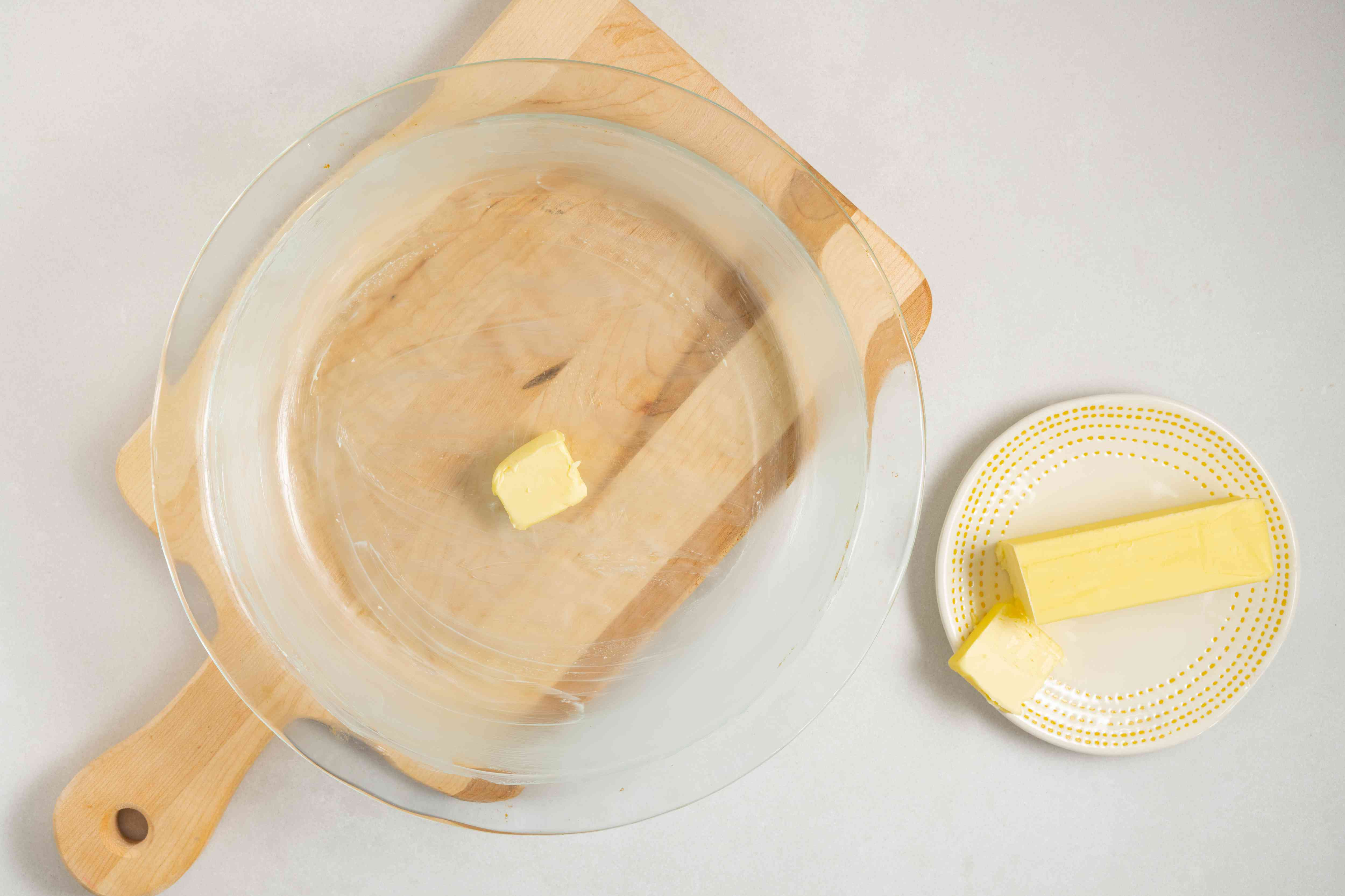 Grease a 10-inch pie plate well with dairy-free soy margarine