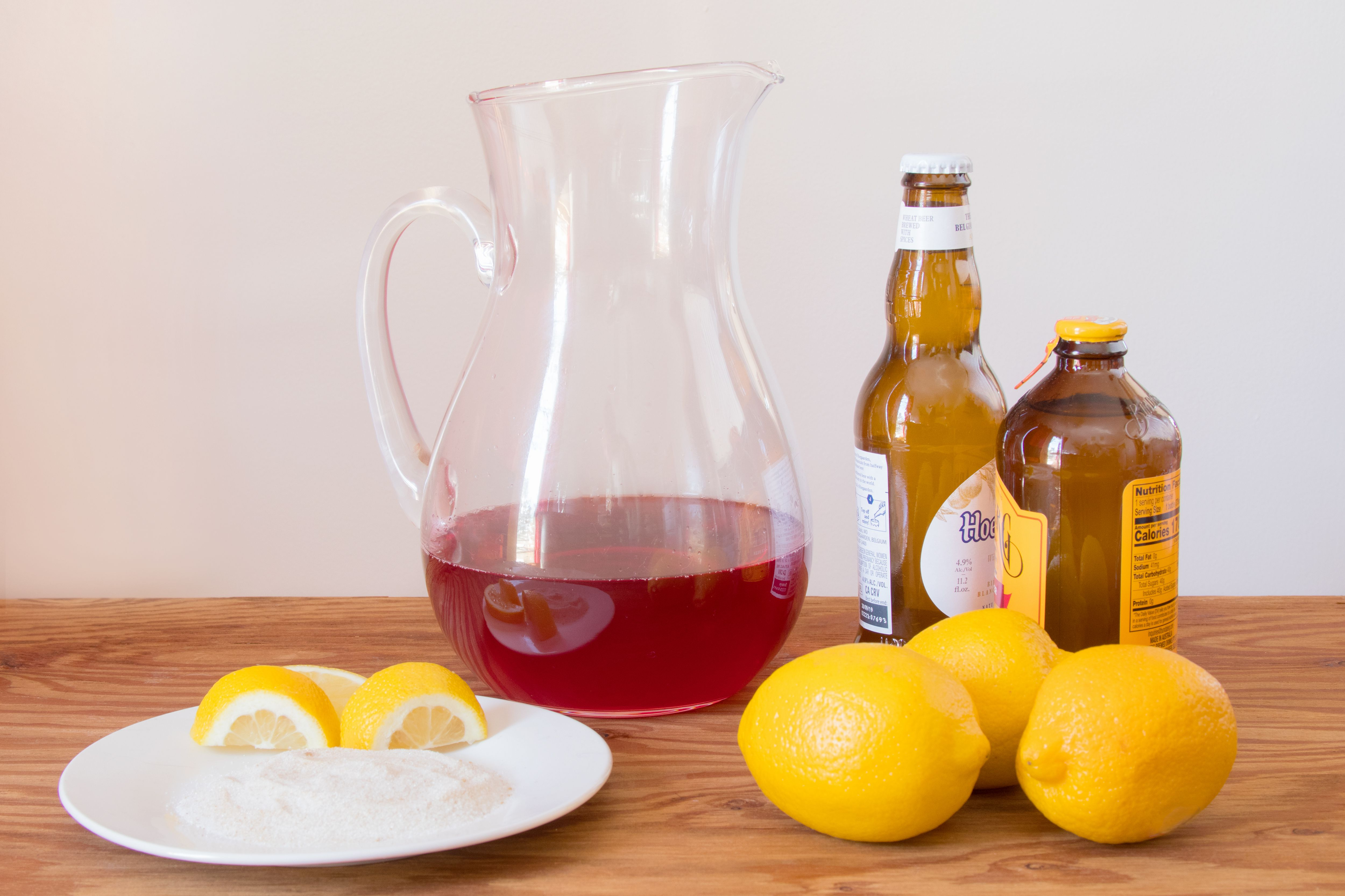 Ingredients for a Cranberry Ginger Shandy