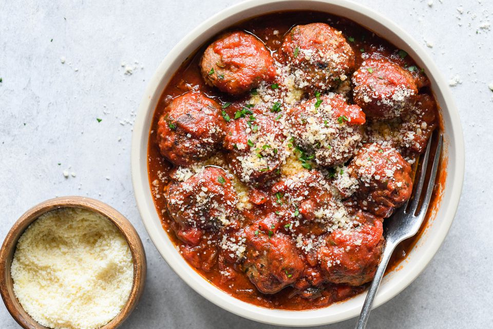 Pork and Onion Meatballs With Tomato Sauce